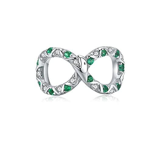 Auténtica Plata De Ley 925 Verde Infinito Amor Colgante con Cuentas Ajuste Original Pulsera Collar Cuentas DIY Fabricación De Joyas