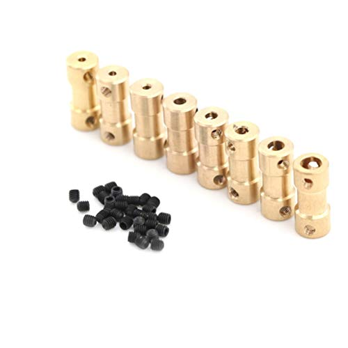 XXBY Shaft coupling Brass Flexible Motor Shaft Coupling Coupler Motor Transmission Connector Drive Shaft 2mm 5 Connector Boat Rc C22 Connection (Color : 3mm 4mm A6)