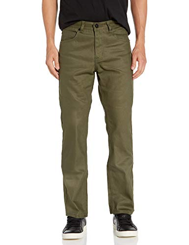 Southpole Men's Pants Long in Thick Bull Twill Fabric and Straight Fit, Olive, 34x32