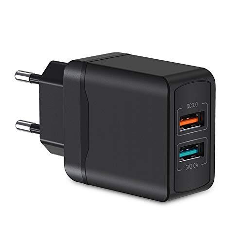 Nething Caricatore USB multiplo 2 Porte USB Quick Charge 3.0, Caricatore USB da muro compatibile con Samsung Galaxy S21, iPhone 12, Xiaomi, Huawei, iPad, Tablet e dispositivi USB (Nero)