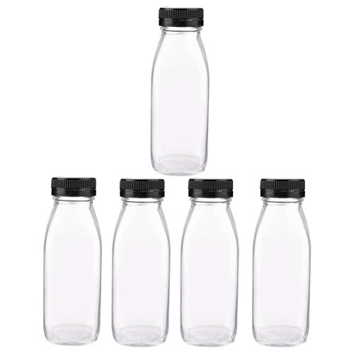ibasenice 5 Stuks Helderglazen Flessen (300 Ml) Met Deksels Ronde Opslagflessen Voor Toverdrank Melk Sap Gembershots Oliën Whisky Vloeistoffen - Mini Reisflesjes Geen Lekkage