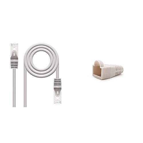 NanoCable 10.20.0820 Cable de red Ethernet RJ45 Cat.6 FTP AWG24, 100% cobre, Gris, latiguillo de 20mts + 10.21.0301-OEM Funda para conector de cable de red Ethernet RJ45, gris