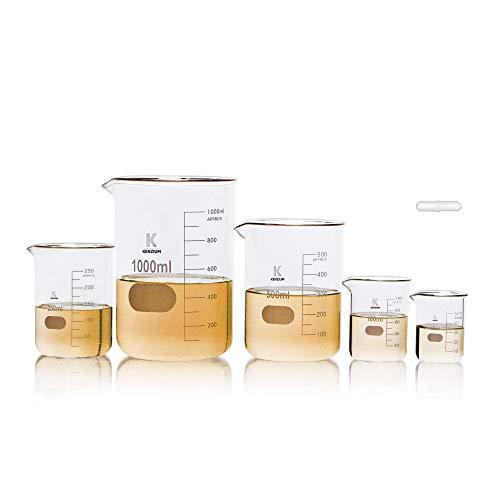KENZIUM - Pack 5 x Vasos de Precipitados + Varilla de Agitación Magnética, 5 Medidas: 50 ml, 100 ml, 250 ml, 500 ml y 1000 ml | Vidrio Borosilicato 3.3, Forma Baja, Graduados, de Cristal con Boquilla
