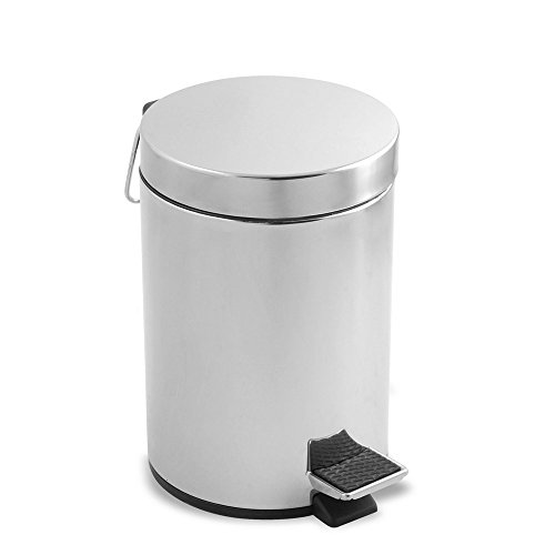 Metaltex 298322 - Cubo de Pedal Redondo de Acero Inoxidable, 12 litros, 25 x 39 centímetros