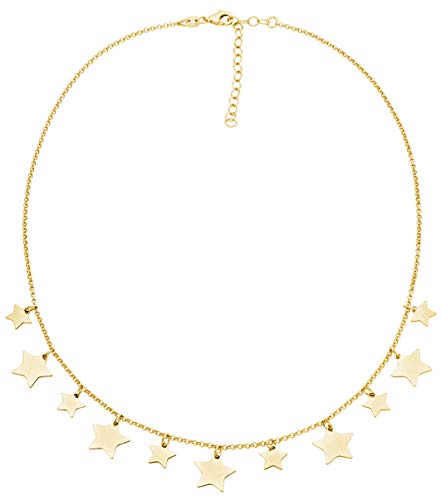 Miabella 925 Sterling Silver Lucky Star Dainty Adjustable Chain Necklace for Women Teen Girls 14-16 or 16-18 Inch, Handmade in Italy (16-18 inch yellow-gold)