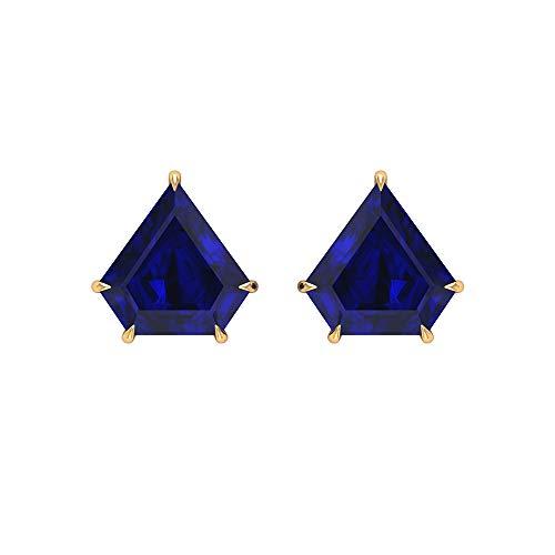 9 CT creados en laboratorio zafiro azul Superman Cut Pendientes (calidad AAAA), 14K Oro amarillo, Par