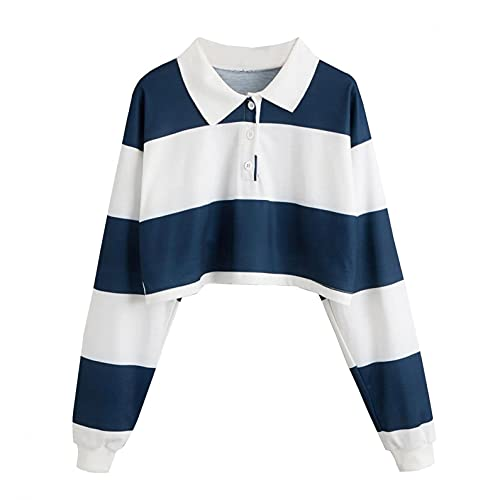 Striped Crop Tops Polo Tee Shirts Collar Half Button Long Sleeve Fashion Cute Rainbow Stripe Tops for Teen Girl