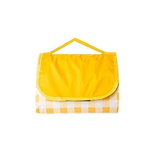 manta de picnic,Estera de picnic de celosía de tela Oxford engrosada, conveniente alfombra de camping a prueba de humedad para exteriores, celosía amarilla grande