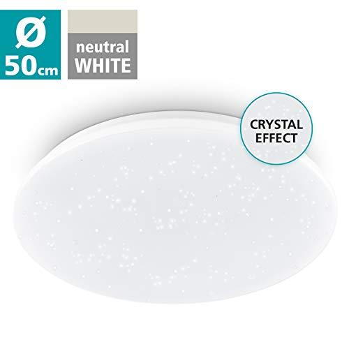 EGLO Deckenlampe Pogliola-S, Ø 50 cm, 1 flammige Wandlampe, Kristalleffekt LED Deckenleuchte aus Stahl und Kunststoff in weiß, Wohnzimmerlampe, Küchenlampe, Bürolampe, Flurlampe Decke