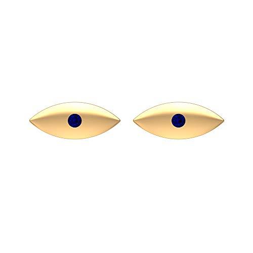Rosec Jewels – Pendientes de mal de ojo, pendientes de zafiro azul, pendientes de tuerca (calidad AAA), rosca trasera azul