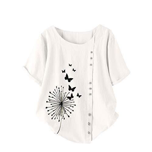 Camiseta de Mujer Estampado de Flores de Diente de LeóN Talla Grande AlgodóN Y Lino Botón Vertical T-Shirt de Mujer Manga Corta Mujer Simple Cuello Redondo Remeras Womens Blusa