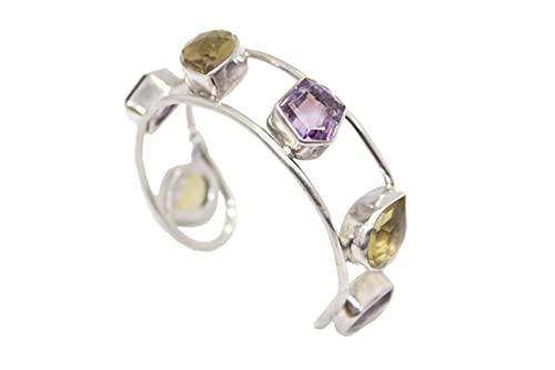 Rajasthan Gems Pulsera para mujer Kada 925 plata de ley 925 amatista natural topacio piedras P 527