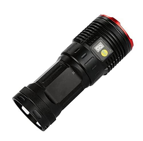 OMVOVSO Linterna, Pantalla Digital Súper Brillante LED De Antorcha Portátil Ajuste De Antorcha Portátil Hell Recargable Baterías De Litio,Negro