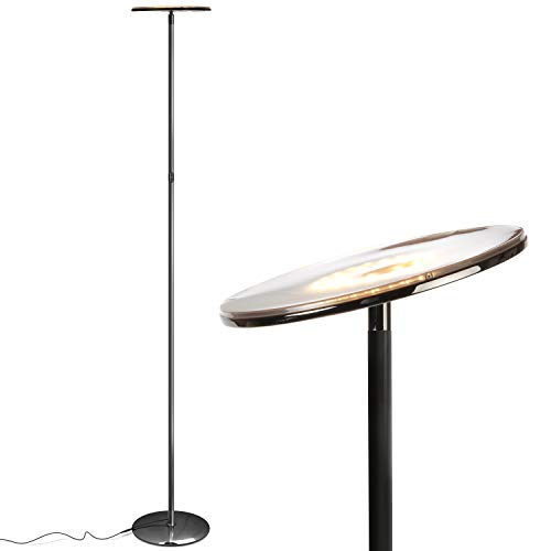 Brightech Sky LED Torchiere Super Bright Floor Lamp - Tall Standing Modern Pole Light for Living Rooms & Offices - Dimmable Uplight for Reading Books in Your Bedroom etc - Gunmetal Black