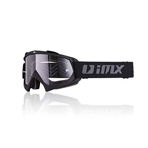 iMX Gafas Mud | Lente transparente | Correa con estampado de silicona | Espuma de tres capas | Incluye una lente | Motocross Enduro Mtb Downhill Freeride, Negro mate, one size