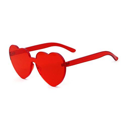 Randlose Sonnenbrille Love Heart Brille Transparent One Piece Eyewear, ., Rot, .