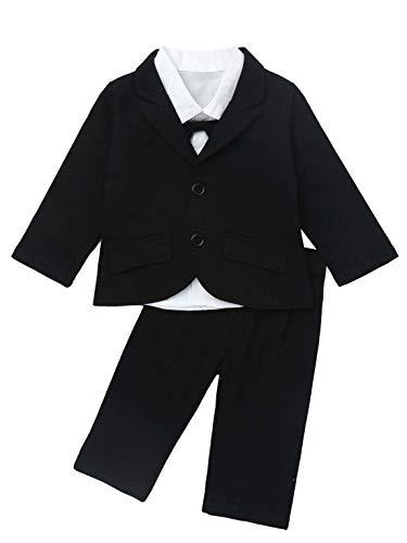 Agoky Baby Junge Gentleman Anzug Kinder Festlich Kleidung Set 3 Teiler Babyanzug Party Smoking Hochzeit Urlaub Taufanzug Gr. 74-110 Schwarz B 98-104