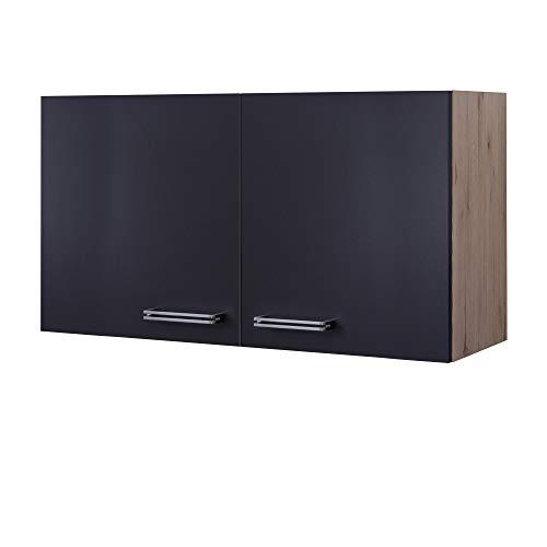 MMR Küchen-Hängeschrank LONDON - Küchenschrank - Oberschrank - 2-türig - 100 cm breit - Anthrazit