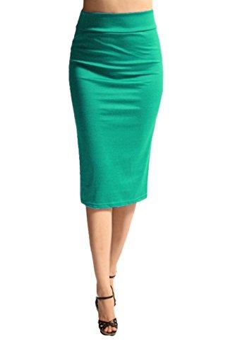 2LUV - Falda larga hasta la rodilla para mujer, talle alto, color verde L (ASK-9014PT-GRN)