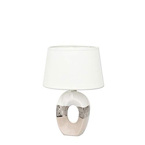 Dekohelden24 Lámpara de mesa de cerámica ovalada, color plata/blanco/capuchino, tamaño 23 x 16 x 33 cm