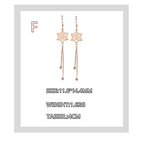AFEO S925 Pendientes De Plata Esterlina Femenina Larga Temperamento Oreja Líneas Simples Pendientes Personales (Color : Gold, Size : F)