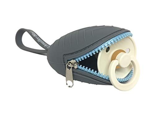 SchnullerHai, Schnullertasche, praktisch für die Aufbewahrung von 2 Schnullern, Schnullerbox mit flexiblen Befestigung (Gray)