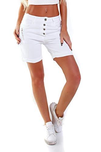 OSAB-Fashion 5056 Damen Safarie Shorts Bermuda Hose Boyfriend Knopfleiste Regularfit Kurze Hose