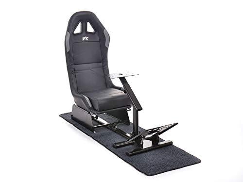 FK Gamesitz Spielsitz Rennsimulator eGaming Seats Suzuka in Kunstleder mit Teppich schwarz/silber