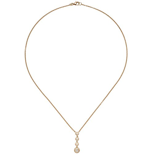 JOBO Damen Collier Kette mit Anhänger 585 Gold Rotgold 4 Diamanten Brillanten 44 cm