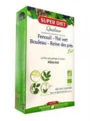 SuperDiet Quatuor slankmiddel, venkel, ijskoningin, groene thee, berk, 20 ampullen à 15 ml, by Super Diet