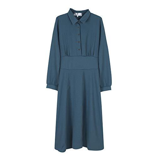 Größe Kleid Mode Hemdkragen Hauchhülse Taille schlanken Rock