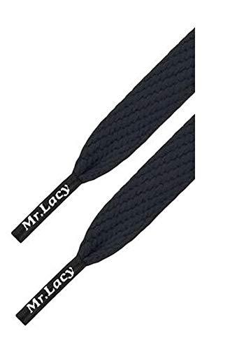 Mr. Lacy Junior Flatties Sneaker Schnürsenkel - flach - 10 mm breit - 110 cm lang - in verschiedenen Farben (Black (Schwarz))