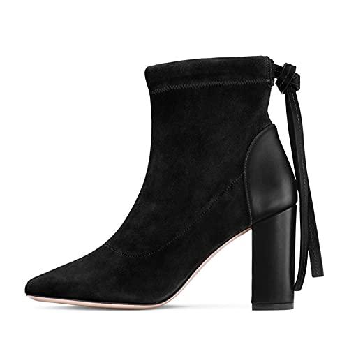 Mujer Clásicas Botines de Tacón Bloque Suede Tacones Altos Gamuza Botas Cortas al Tobillo Ankle Boots Botín Casual Botas Chelsea Zapatos de Tacón Alto,Negro,40 EU