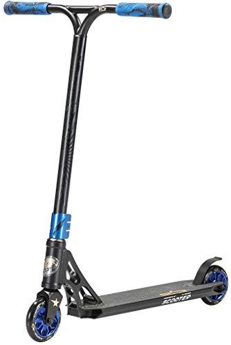 STAR SCOOTER Professional Freestyle Kick Stunt Scooter ab 8 Jahre | 110mm ABEC-9 Lager Alu Kinder City Roller mit HIC für Fortgeschrittene | Schwarz Blau