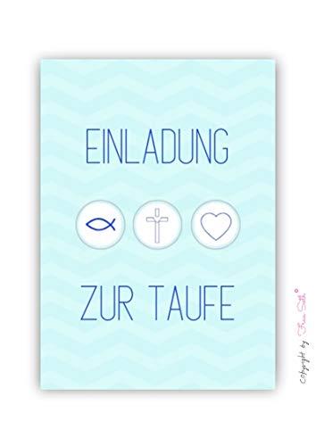 Einladungskarte Taufe Jungen: Taufkarte Einladung Tauffeier, 10er Set, Karte in DIN A6 (Größe von Postkarte)
