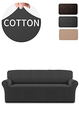Cotton Stretch Sofa Slipcover Sofa Cover Furniture Protector Sofa Shield Couch Soft Sturdy with Elastic Bottom Pets,Kids,Children,Dog,Cat(Sofa,Dark Gary)