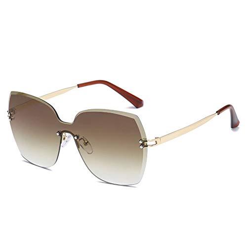 N/ A Übergroße rahmenlose quadratische Monokel-Frauen rahmenlose Sonnenbrille Frauen Uv400
