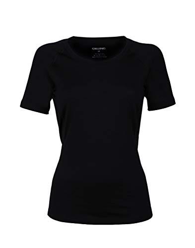 Dilling Merino T-Shirt für Damen – aus 100% extra feiner, hautfreundlicher, exklusiver Merinowolle Schwarz 38