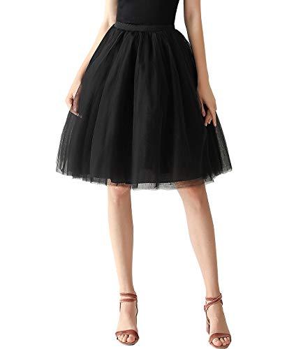 Aivtalk - Falda de tutú para mujer, tutú corto, diseño clásico, para baile, fiesta, baile, esquí, suave, con encaje de colores, Negro , Talla única