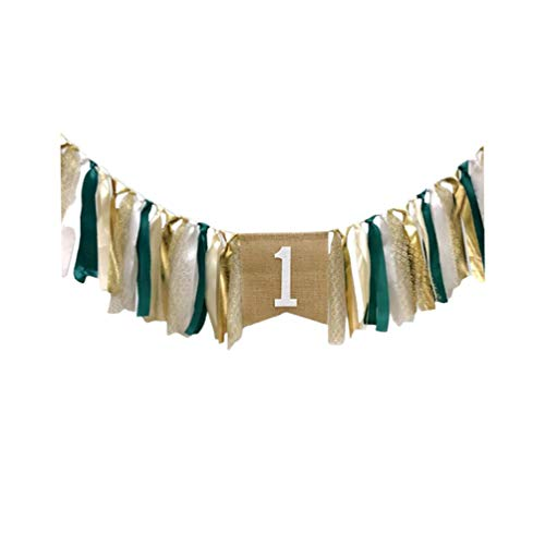 Amosfun - Pancarta para trona de primer cumpleaños para baby shower, color verde menta 200 * 45cm verde oscuro