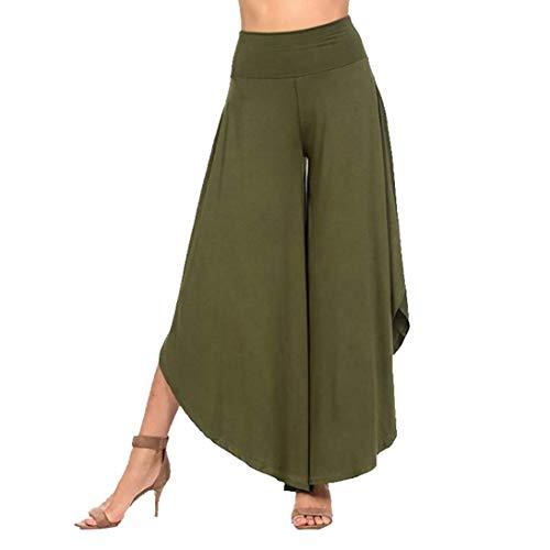 Vovotrade Damesbroek, Layered Wide Leg Flowy Pants, hoge taille, katoen, brede pijpen, losse casual broek yoga broek Plus maat S-XXXL blauw, zwart, groen