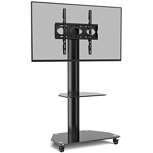 RFIVER Carrello Porta TV con Ruote per Televisore Plasma LED LCD 32-55 Pollici, Supporto TV da Pavimento Schermo Ruotato di 90°, Mobile TV può Supportare 35kg