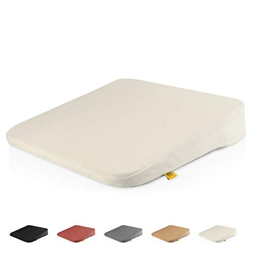 Mister Mountain® Premium Keilkissen - Bequemes Sitzkissen mit Anti-Rutsch-Funktion für Homeoffice und Büro – Sitzkeil für eine bessere Körperhaltung 38x38x7/2cm (Elfenbein)