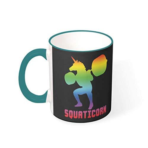 XHJQ88 11 oz Kleurrijke Eenhoorn Mix Koffiemok met Handvat Glad Keramisch Humor Mokken - Squaticron Holiday, Pak voor Dorm gebruik