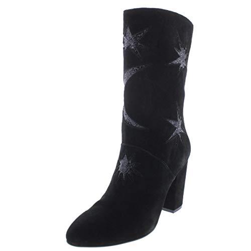 Avec Les Filles Womens Nikita Suede Glitter Ankle Boots Black 7 Medium (B,M)