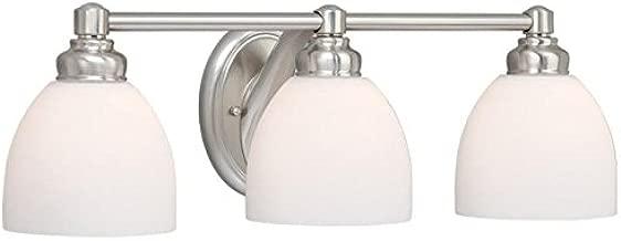Vaxcel USA STVLD003BN Stockholm 3 Light Bathroom Vanity Lighting Fixture in Nickel, Glass