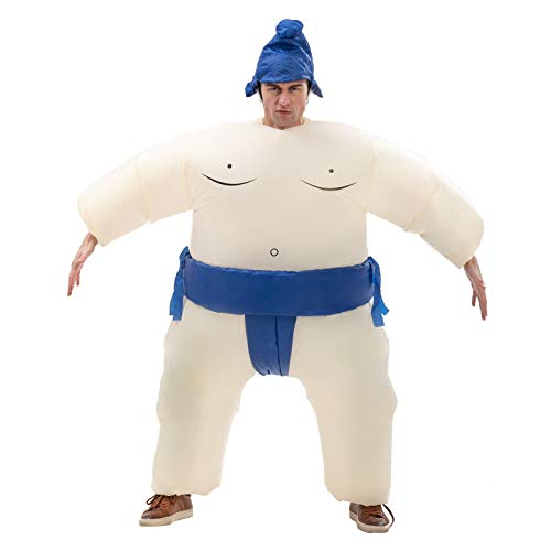 Sumo Inflatable Costume for Boys Wrestler Blow up Jumpsuit Fancy Dress Wrestling Suit for Party Halloween Christmas Cosplay