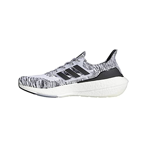 adidas Tênis de corrida masculino Ultraboost 21, Branco/Preto/Preto, 10