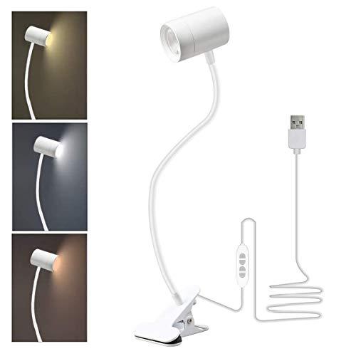 Lámpara de lectura LED, 6 ledes, con pinza de conexión USB, 3 modos de color y 10 brillo regulable, flexible, lámpara de escritorio, lámpara de cama, lámpara de pinza para dormitorio, oficina (blanco)