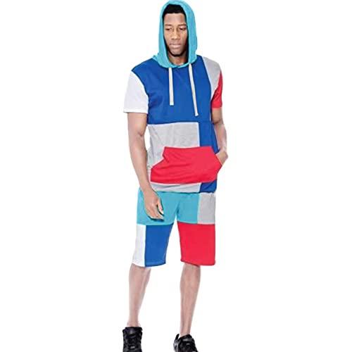 Chándales Tops de Gimnasia para Hombres Ropa de Camiseta Traje con Capucha Ropa de Calle Pantalones Cortos Casuales Deportivos de Verano,C,M